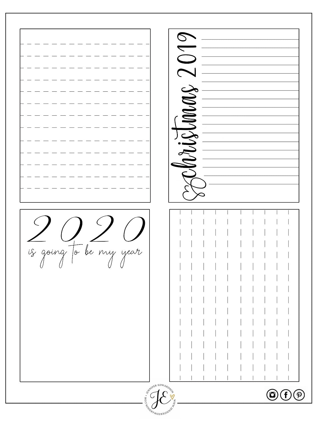 January 2020 Journal Cards