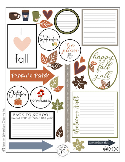 Fall Printable - Cards & Cut Outs