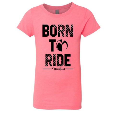 Born To Ride Moto Head Tee Pink