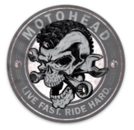 Moto Head Skully Decal