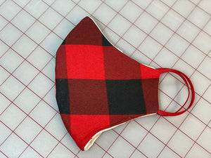 Red plaid Adult face Mask