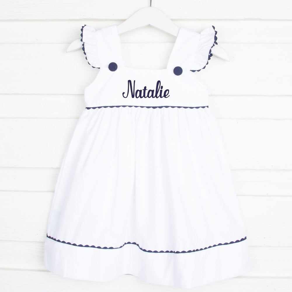 Load image into Gallery viewer, Navy Trim White Dress