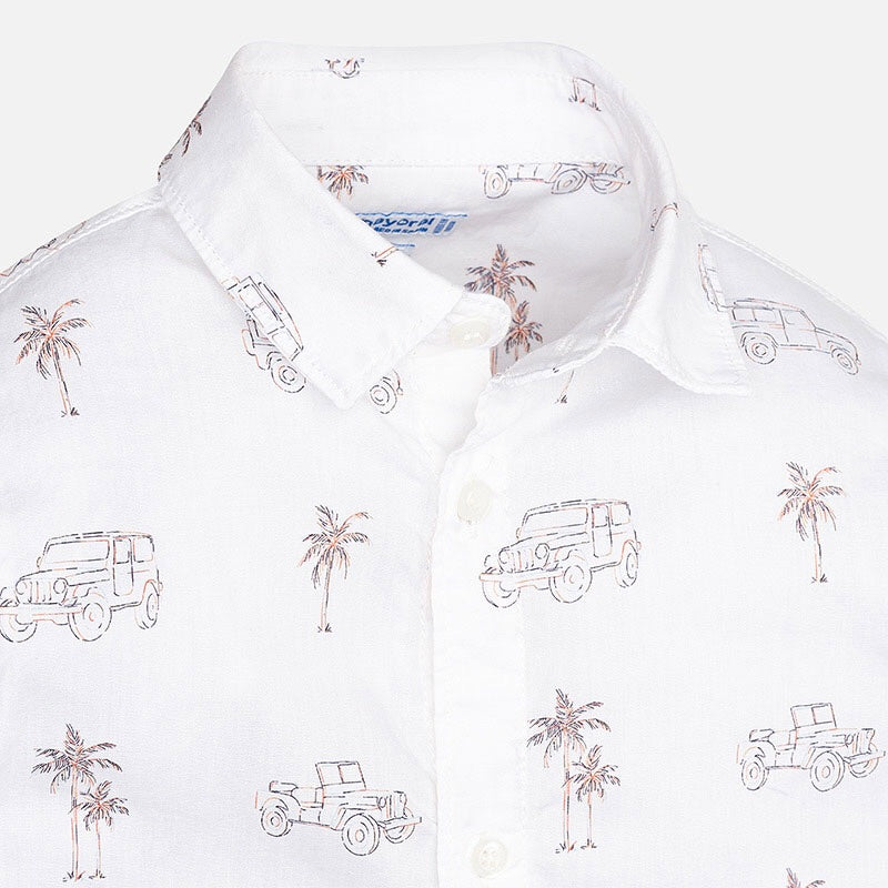 Long Sleeve Shirt with Palm Trees and Cars