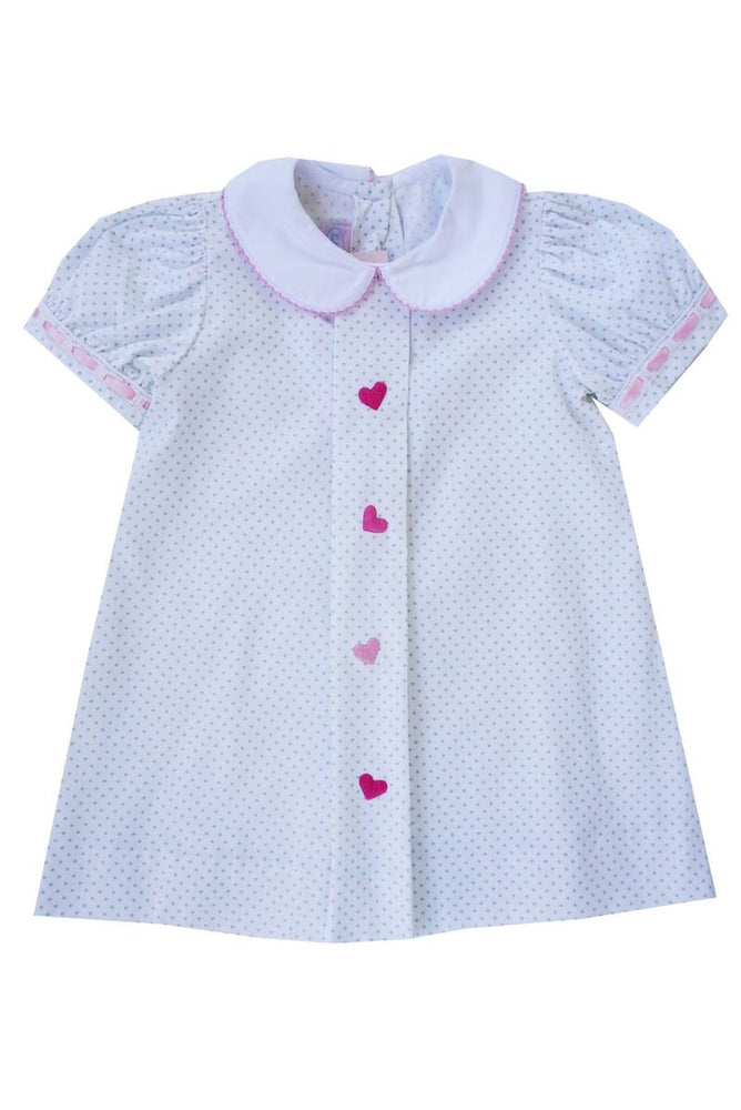 Dot Dress with Heart Embroidery