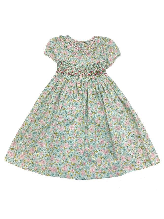 Smock Rose Print Dress with Sleeves