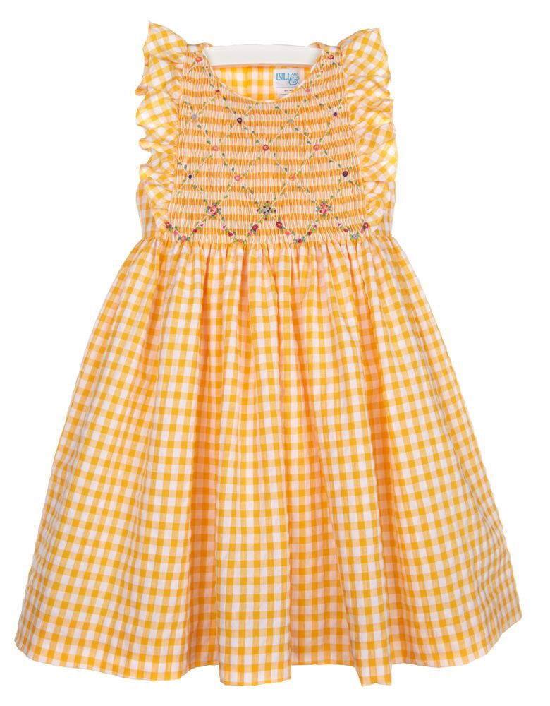 Lemon Gingham Smock Dress