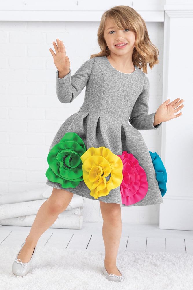 Ruffle Flower Scuba Dress