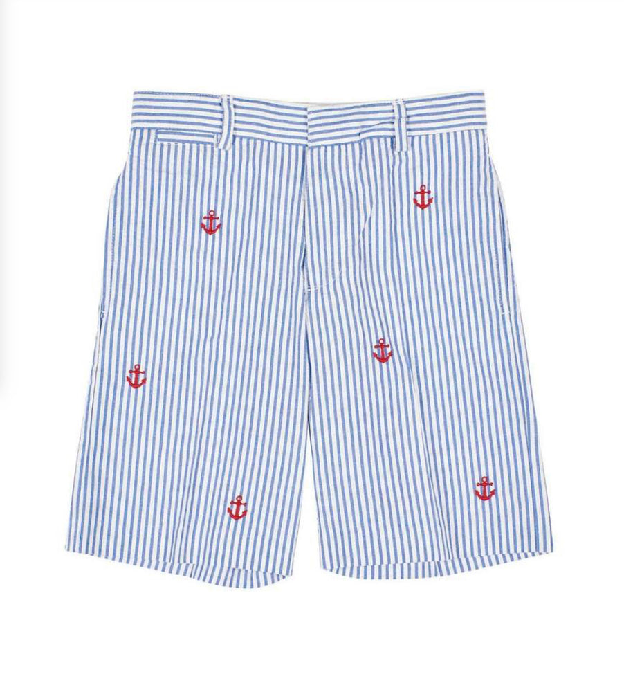 Seersucker Shorts With Embroidered Anchors