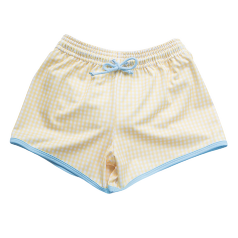 Yellow Check Swim Short