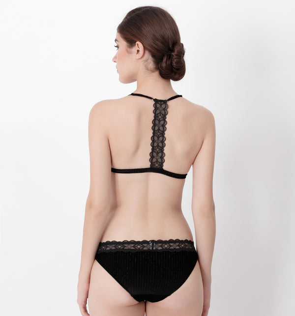 04 Velvet triangle bra (Black) 04BRAVELA10