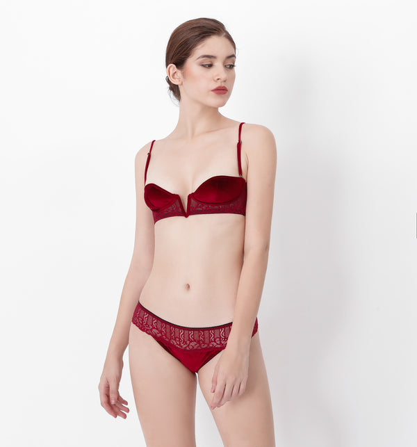 04 V-shape velvet lace bra (Red) 04BTAVELA05