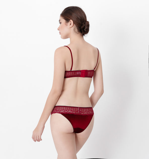 04 V-shape velvet lace bra (Red) 04BRAVELA05