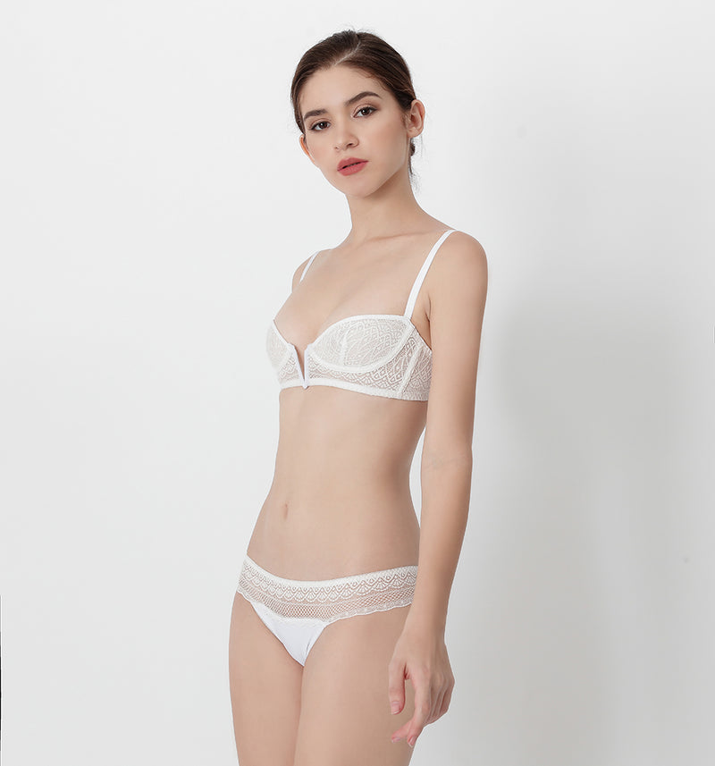 04 V-shape lace bra (White) 04BRALA14