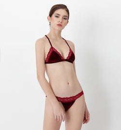 04 Velvet triangle bra (Red) 04BRAVELA10