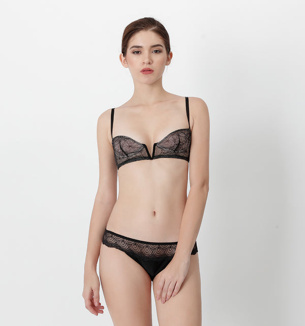 04 V-shape lace bra (Black) 04BRALA14