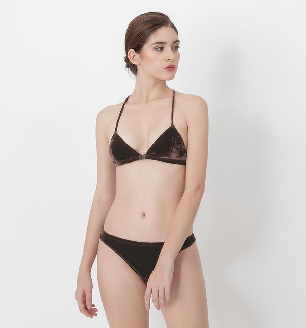 04 Basic velvet bra (Brown) 04BRAVE01