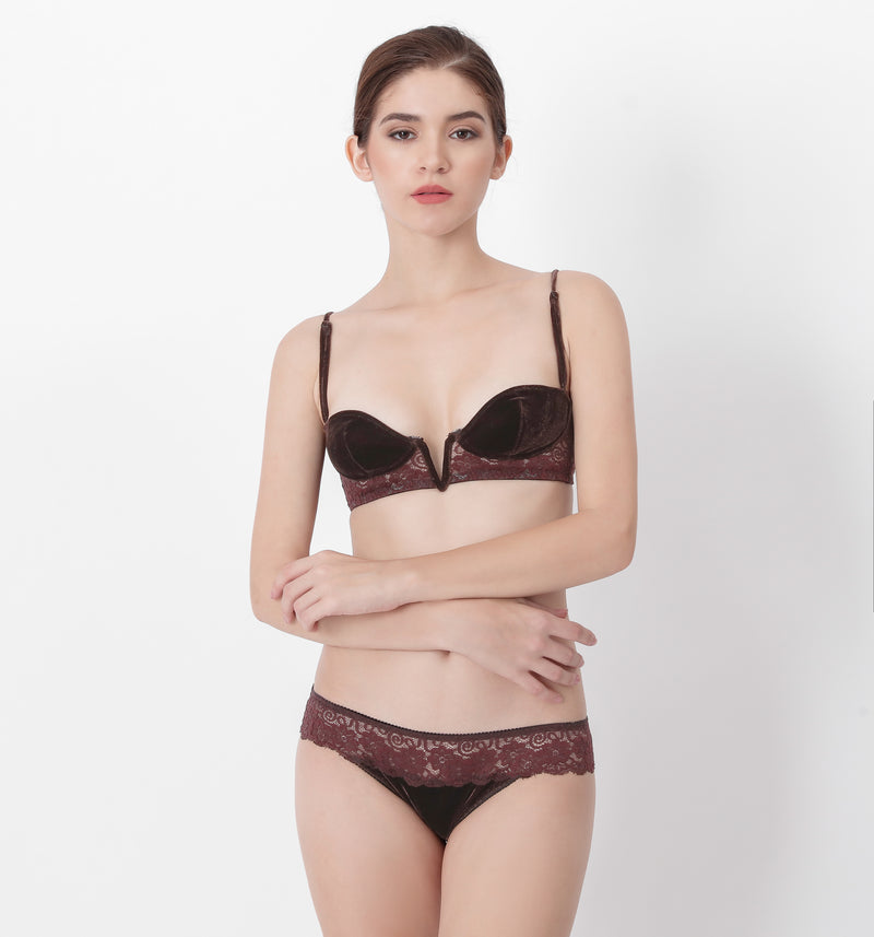 04 V-shape velvet lace panty (Brown) 04UNDVELA05