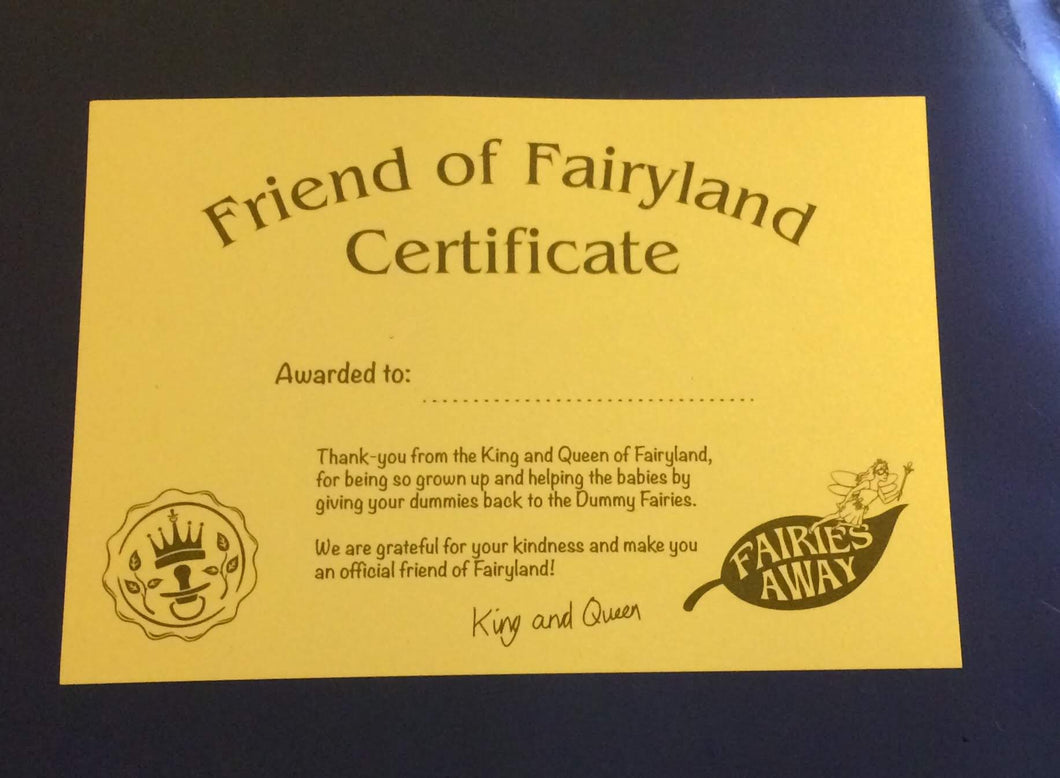 Friend of Fairy land certificate!