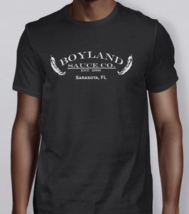 """Boyland Sauce Co."" T-shirt, white on black"