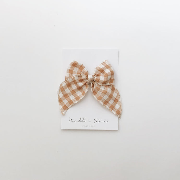 Sailor bow - caramel check