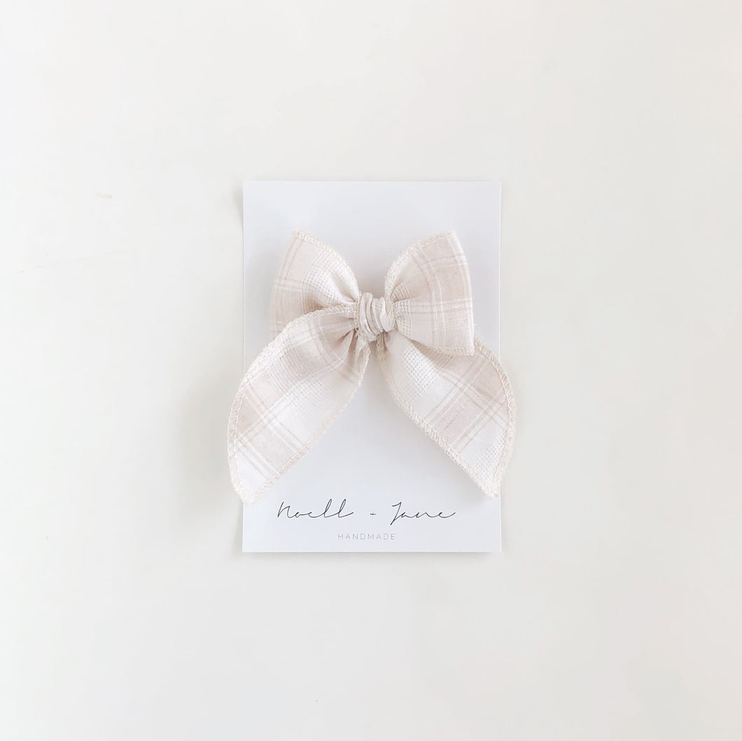 Sailor bow - cream plaid