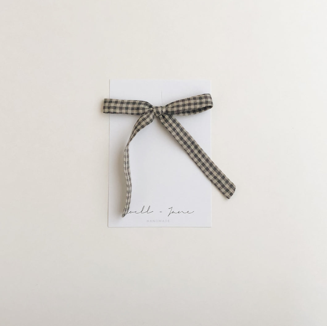 thin ribbon - grey check
