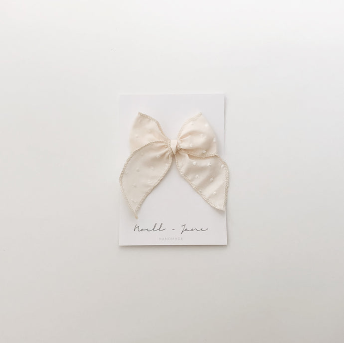 Sailor bow - cream swiss dot