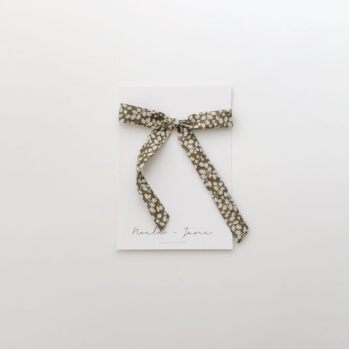 Thin ribbon - cream olive