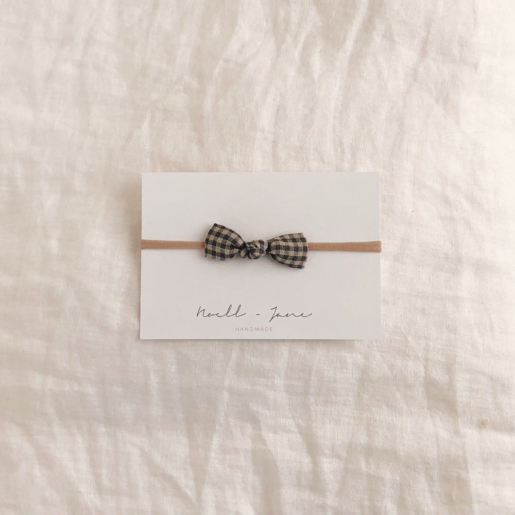 knot bow - grey check