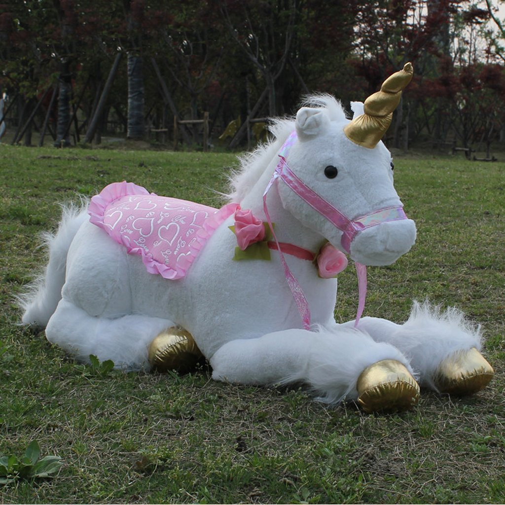 Jumbo Life Size White Unicorn Stuffed Toy