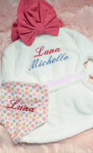 Load image into Gallery viewer, Personalized Newborn Terry Cloth Baby's Robe & Bandana Bib
