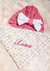 Personalized Newborn Terry Cloth Baby's Robe & Bandana Bib