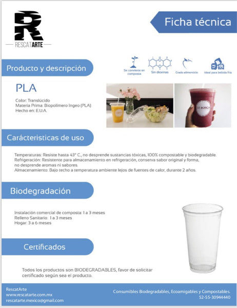 Vaso 16oz / 473ml de PLA (Biodegradable) - Bebidas Frías