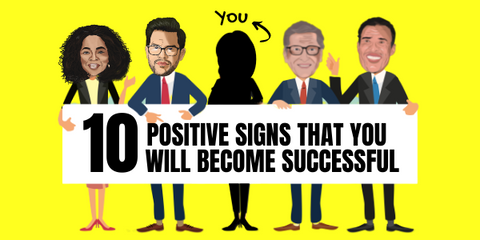 """A sign held by Oprah Winfrey, Tai Lopez, you Bill Gates and Tony Robbins saying""""10 positive signs you will become successful."""""""