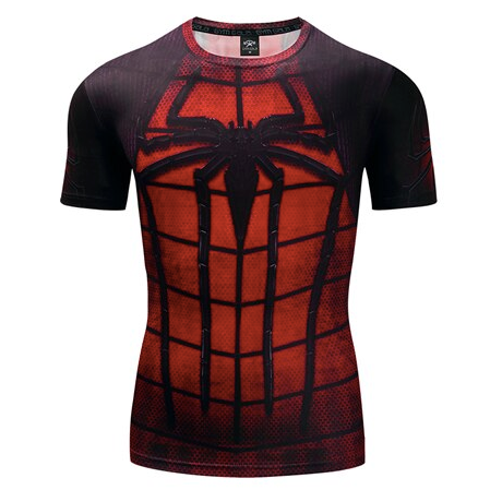 t shirt musculation compression spiderman noir et rouge