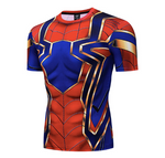 t shirt de musculation iron spider bleu et rouge