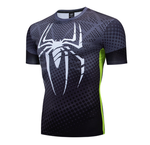 t shirt compression spiderman musculation gris de face