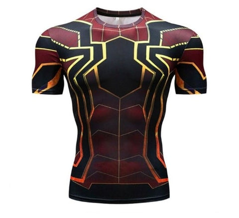 t shirt de compression iron man spiderman