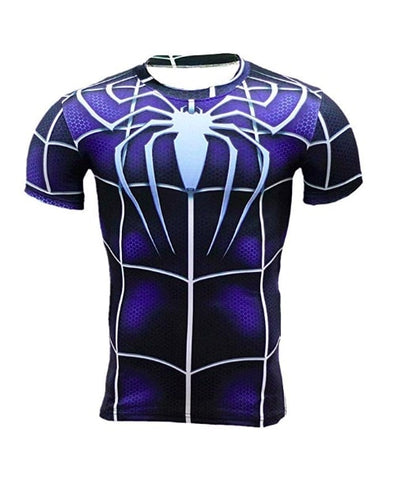 T Shirt Compression <br> Spiderman Bleu