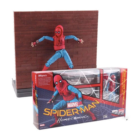 Figurine Spider Man <br> Homecoming & Mur (14cm)