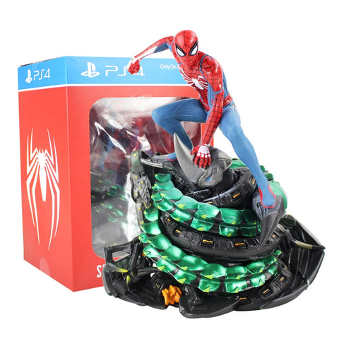 photo de face de la figurine de spiderman ps4