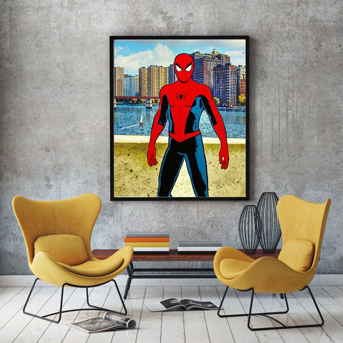 poster de spiderman en mode vintage de face ps4