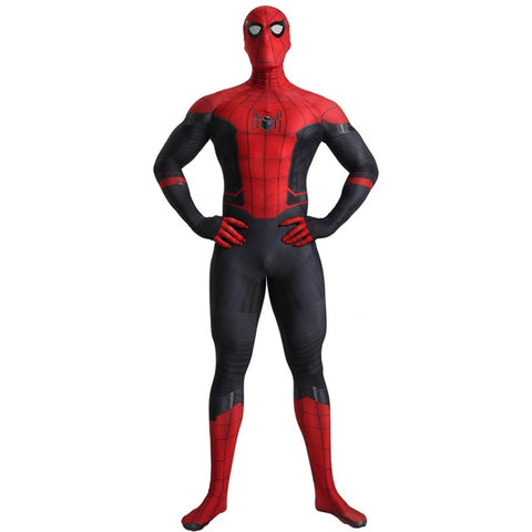 porté debout costume spider man far from home noir et rouge