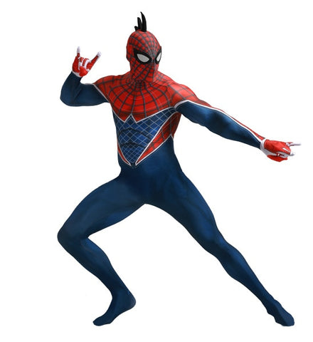 costume spider man spider punk rouge et bleu