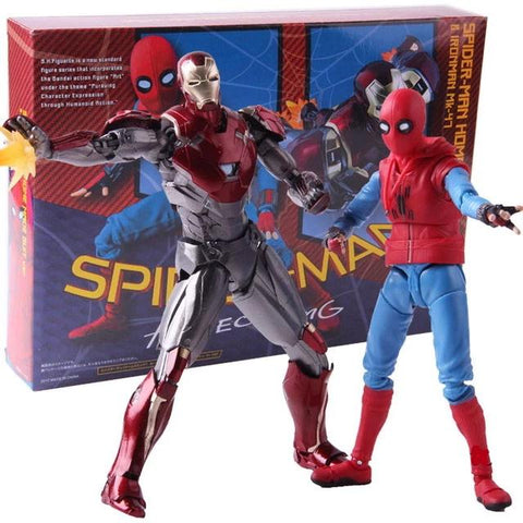 figurine spider man iron man