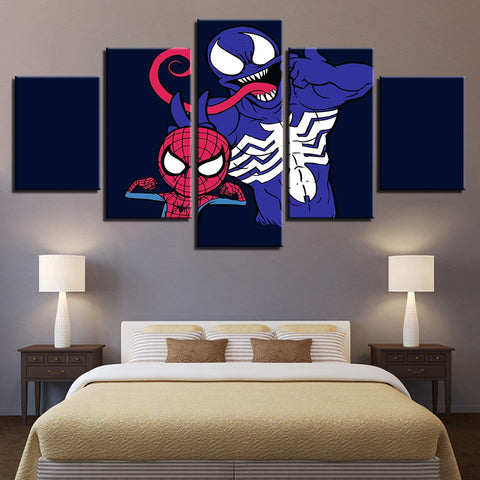 tableau de spiderman et venom en cartoon