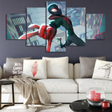 tableau de spiderman de miles morales en cartoon