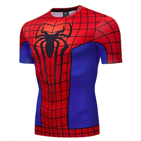 t shirt compression spiderman collector retro rouge et bleu
