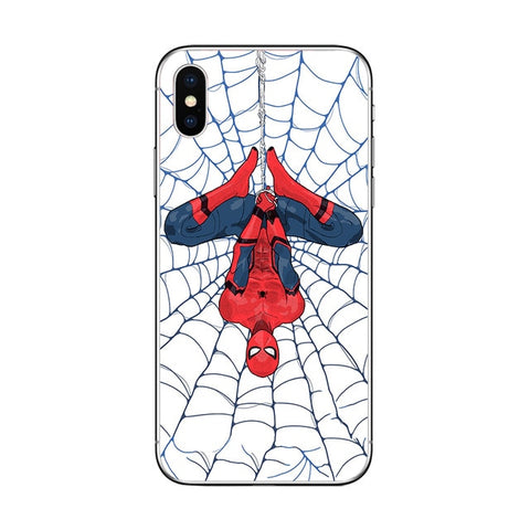 photo vue de face de la coque iphone spiderman dessin