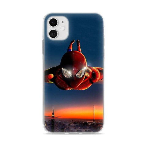 photo vue de face de la coque iphone spidermna plongeon